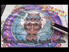 Floresta Encantada - Coruja, pontos de luz, degradê, contorno | Luciana ...