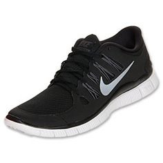 Women's Nike Free 5.0+ Running Shoes | FinishLine.com | Black/Dark Grey/White/Metallic Silver