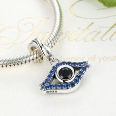 Blue evil eye silver charm - mewe-jewelry.com