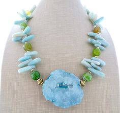 Yellow agate necklace  chunky necklace green emerald jade