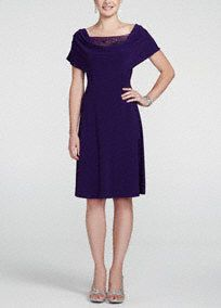 Modest affair or don't know what to wear? You'll look stunning at any event in this gorgeous dress! Short sleeve bodice features a drape neck with a dazzling beaded inset for an intricate focal point. Dress hits just below the knee. Pair with earrings and a sparkling shoe to complete your look. Fully lined. Imported polyester/spandex blend. Hand wash cold. Available in Plus sizes as Style T1311517L1.