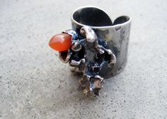 Coral Reef Ring with Carnelian Sterling Silver by SilviasCreations, $159.00