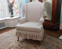 slipcovered wingback chair french linen ruffle shabby chic paris slipcover tan…