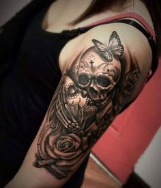 Skull tattoos for men and women . - Skull tattoos for men and . - Skull tattoos for men and women … – Skull tattoos for men and women … – - Skull Sleeve Tattoos, Sugar Skull Tattoos, Best Sleeve Tattoos, Tattoo Sleeve Designs, Tattoo Designs For Women, Tattoo Sleeves, Sugar Skull Sleeve, Sugar Skulls, La Muerte Tattoo