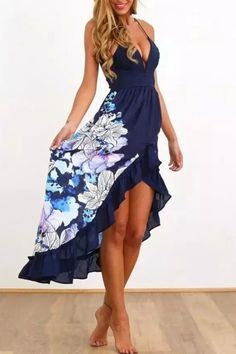 Floral Print Flounce Trim Cami Dress - OASAP.com