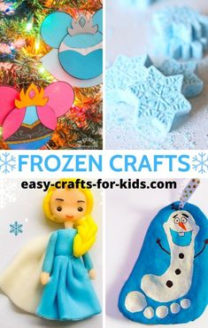 Frozen Crafts For Kids features the best there is! Choose from dough, clay, paper and lots more craft ideas! Make your own sparkly wands and Christmas ornaments! Disney Frozen Crafts, Disney Princess Crafts, Disney Crafts For Kids, Clay Crafts For Kids, Crafts For Girls, Craft Activities For Kids, Toddler Crafts, Preschool Crafts, Projects For Kids