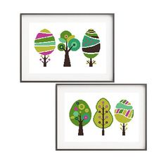 Tree cross stitch pattern Set of 2 xstitch Nature embroidery