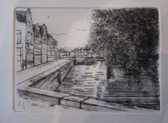 """Droge naald ets """"Brugge"""". 2013 - eigen werk. Abstract, Artwork, Art, Summary, Work Of Art"""