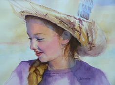 """Girl In A Straw Hat"" -watercolor by Judy Delmonico-Roll"