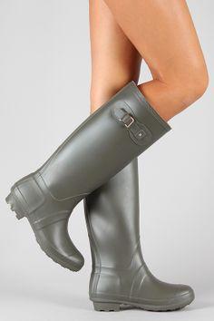 Bamboo Padinton-01 Round Toe Knee High Rain Boot