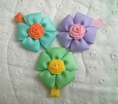 Super Cute Flower Hair Clips with Rosette Center (Set of for Everyone esp. Baby, Infant, Toddler, Girl or Adult by GhinesCreations on EtsyBuddyschild admirers Promotion Treasury List by JP Denyer on EtsyCreative Spring Flowers by Lucretia Donahue-Ree Satin Ribbon Flowers, Ribbon Hair Bows, Diy Ribbon, Fabric Flowers, Felt Flowers, Flower Hair Clips, Flowers In Hair, Flower Headbands, Spring Flowers