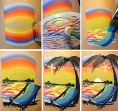 Paintertainment: Step by Step beach design.  You've gotta love the split-cake......Take me away......
