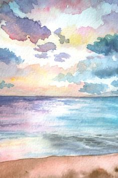 30 Top Watercolor Arts Libraries - Explore Suggestions And Information Relating To Watercolor Arts Right Away! 30 Top Watercolor Arts Libraries - Explore Suggestions And Information Relating To Watercolor Arts Right Away! Watercolor Ocean, Watercolor Drawing, Painting & Drawing, Watercolor Paintings, Watercolours, Drawing Sky, Sky Painting, Watercolor Flowers, Watercolor Projects
