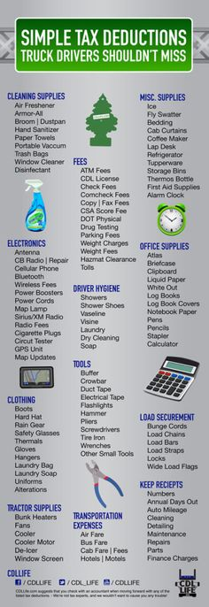 Infographic: Truck Driver Tax Deductions What are some everyday items that truck drivers may be able to write off during tax season?  Read more at http://cdllife.com/2013/resources/infographic-truck-driver-tax-deductions/#L4YXXJ6gFKj6kjK8.99