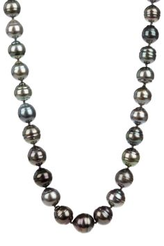 14K White Gold 9-10mm Baroque Black Tahitian Pearl Necklace