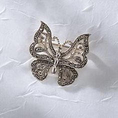 British Sterling Marcasite Butterfly Brooch