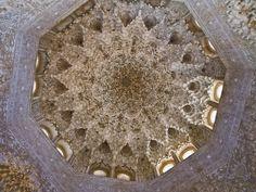 Ceiling in the Palace Alhambra. 1362-1391. Granada Spain. Moorish Design.