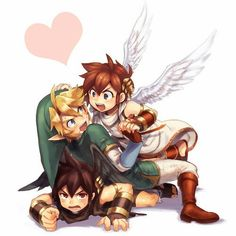 Dark Pit, Link and Pit!!!! 3x the cuteness!!! X3 ///
