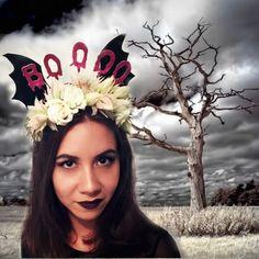 #tocado de #flores naturales para #Halloween terroríficamente ideal!!!!