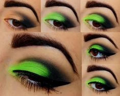 Very Bold, Yet Sexy Eyeshadow Tutorial! Electric Green Eyeshadow Very Bold, Yet Sexy Eyeshadow Tutorial! Electric Green Eyeshadow – Das schönste Make-up Makeup Eye Looks, Dramatic Eye Makeup, Eye Makeup Steps, Colorful Eye Makeup, Makeup For Green Eyes, Smokey Eye Makeup, Pretty Makeup, Eyeshadow Makeup, Eyeliner