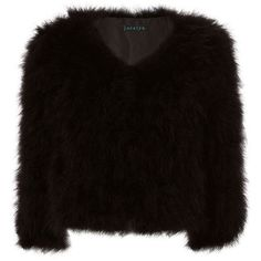 Jocelyn Women's Fifi Marabou Feather Bolero ($395) ❤ liked on Polyvore featuring outerwear, jackets, black, bolero jacket, collarless jackets, pocket jacket, fleece-lined jackets and feather jackets