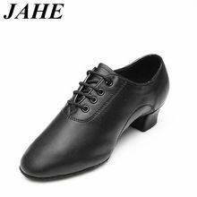 2017 Moderno Niños de Los muchachos de Los Hombres del Salón de Baile Latino Zapatos de Baile de Tango hombre zapatos de baile de Salsa del salón de tacón negro Tamaño Grande 25-45 Superior WD038(China)