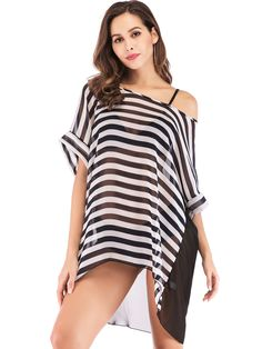 396b5c553c558 s Plus Size Bikini Cover Up Warp Stripe Chiffon Swimsuit Swimwear