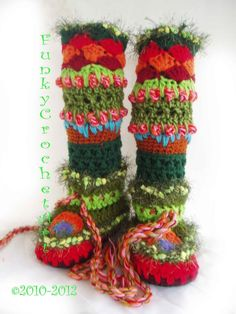 Crochet Slipper Boots/ Leg Warmer Combo.