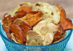 Sweet Potato and Parsnip Chips - healthy, delicious and you won't believe how easy they are! Made in the microwave!!