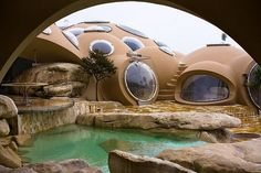 maison bulles danti lovag is part of Earthship home - Maison Bulles d'Anti Lovag Natureart Unique Organic Architecture, Architecture Design, Futuristic Architecture, Residential Architecture, Contemporary Architecture, Bubble House, Earthship Home, Dome House, Underground Homes