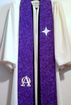 Clergy Stole - Purple Advent Clergy Stole w/ Bethlehem Star & Alpha-Omega on Etsy, $116.00