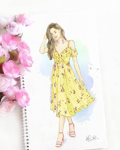 "Dipti Patel Illustration on Instagram: ""A breezy, flowy dress to take you through the summer errands ☀️🧡 #fashionillustration #summerstyle #lotd #thursday"""