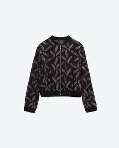 Zara BOMBER WITH SHEER DETAILS AND LEAF EMBROIDERY from Zara
