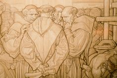 These are some detail shots of a larger layout sketch Dean Cornwell put together for the 2nd floor rotunda mural at the L.A. Central library. The sketch is part of the Siqueiros exhibit currently r...