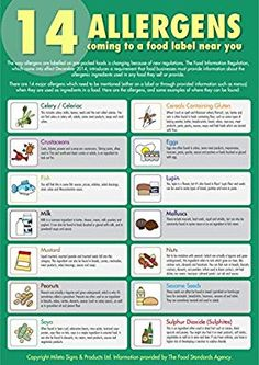 The 14 Allergens Poster. Food Safety Training, Food Safety Tips, Food Tips, Food Safety And Sanitation, Posters Uk, Safety Posters, Food Technology, Gym Food, Food Food
