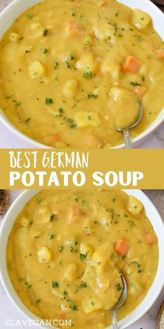 Veggie Recipes, Soup Recipes, Vegetarian Recipes, Cooking Recipes, Healthy Recipes, Vegetarian Soup, German Potato Soup, Vegan Soups, Vegan Stew