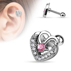 {Pink} CZ Paved Double Hearts with Pink CZ Center Cartilage/Tragus Bar
