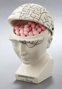 A fun take on the old Victorian medical tool. Regardless of your diagnosis, this flip-top ceramic phrenology head will always cure what ails you - especial