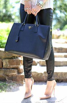 The Sweetest Thing: Edgy + Girlie. Work Fashion, Mens Fashion, Louis Vuitton Designer, Prada Saffiano, Beautiful Handbags, Nude Pumps, Faux Leather Leggings, Prada Bag, Blue Bags