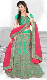 Green Color Shaded Embroidered Art Silk Cholie Skirt #buylehengacholionline #chaniyacholibayarea Manifest your women about town style dressed in this green color shaded embroidered art silk cholie skirt. This pretty attire is showing some remarkable embroidery done with lace and resham work. Upon request we can make round front/back neck and short 6 inches sleeves regular lahenga blouse also.  USD $ 266 (Around £ 184 & Euro 202)