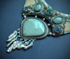 Blue Embroidered Necklace  beadwork jewelry  beaded by suzidesign