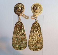 "Judith Leiber Egyptian Revival Drop Dangle Earrings Clip 2.75"" Long Gold Metal #JudithLeiber #DropDangle"