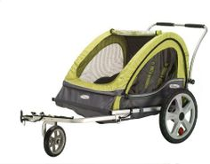 InStep Sierra Double Bicycle Trailer--  These are great. I got mine as a gift and  I have no brand preference. I love getting the exercise, and my kids find the ride both fun and soothing.  ( i think this version is cooler than mine because it has a stabilizer wheel and push handle so you dont nessasarily have to use it with a bike.)