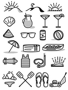 Set of 23 free icons for summer