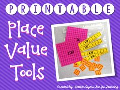 This sweet freebie has lots of different tools for teaching and reinforcing basic place value concepts.  It includes a set of printable base 10 blocks, several different place value strips, a set of number cards (includes commas & a decimal card), and a pocket for kids to put in their interactive notebooks to store their tools.At my school, we often make these to send home with parents so they can have some cheap manipulatives to use when working with their kids on place value concepts - ...