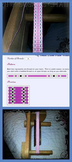 Pink Susans Flower Chain Inkle Pattern and Photos #inkleweaving #inkleloom #fibrearts #zephyrdesigns