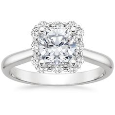 GORG! Cushion Cut with this unique halo setting!!! A girl can dream, right? Cushion Cut - 18K White Gold Lotus Flower Engagement Ring Brilliant Earth