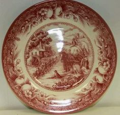 ROYAL STAFFORD FINE EARTHENWARE RED HAYRIDE SALAD PLATE WITH WAGON HORSE DOG MILL FRUIT