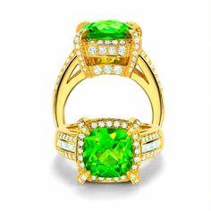 Charles Krypell 18K Yellow Gold Peridot and Diamond Ring