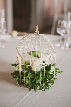 green apple and greenery in a birdcage